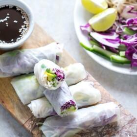 several freshly made Vietnamese summer rolls