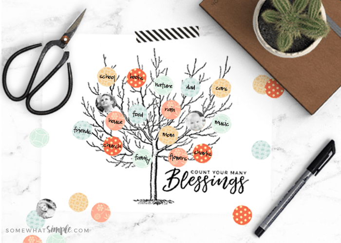 a blessing tree printable laying on a counter