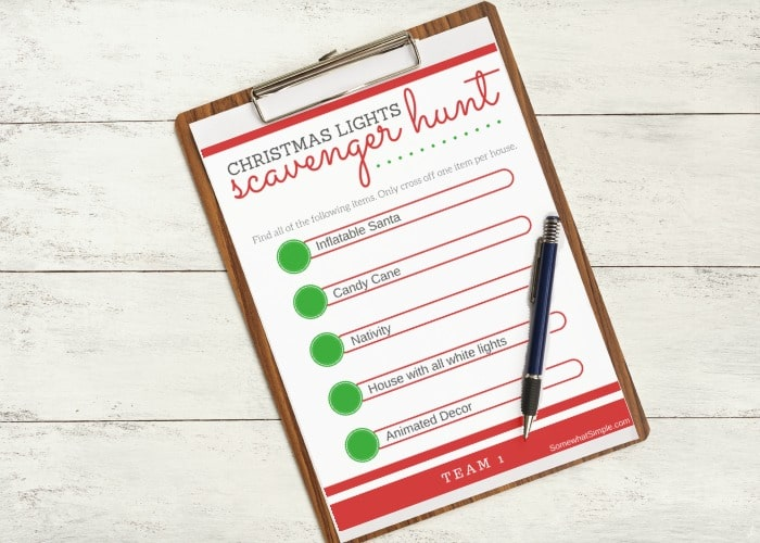 picture about Family Reunion Scavenger Hunt Printable called Xmas Lighting Scavenger Hunt