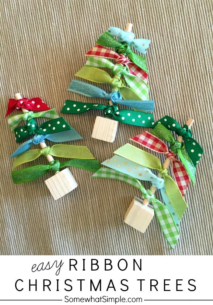 Ribbon On Christmas Tree.Easy Ribbon Christmas Tree Craft Somewhat Simple