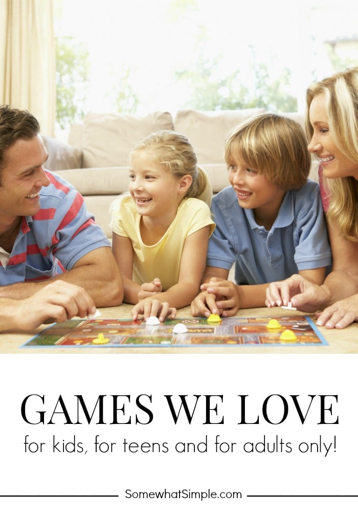 Here are our top 5 games to play as a family. These are perfect for a family party, holiday or just a night home with the kids. #familygames #games #gamesforkids via @somewhatsimple