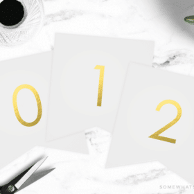 free printable numbers in gold to make the perfect banner for any holiday or season