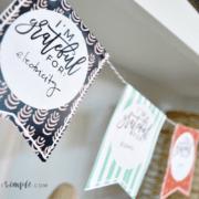 a gratitude garland thanksgiving craft hanging on a shelf