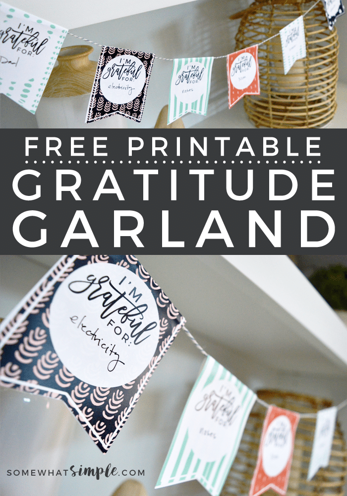 This FREE printable Gratitude Garland craft is so simple and perfect for kids of all ages! And such a beautiful way to display all the things you're grateful for! #gratitudegarland #printablethanksgivingcraft #givethanksgarland #gratitudebanner #gratitudegarlandfreeprintable via @somewhatsimple