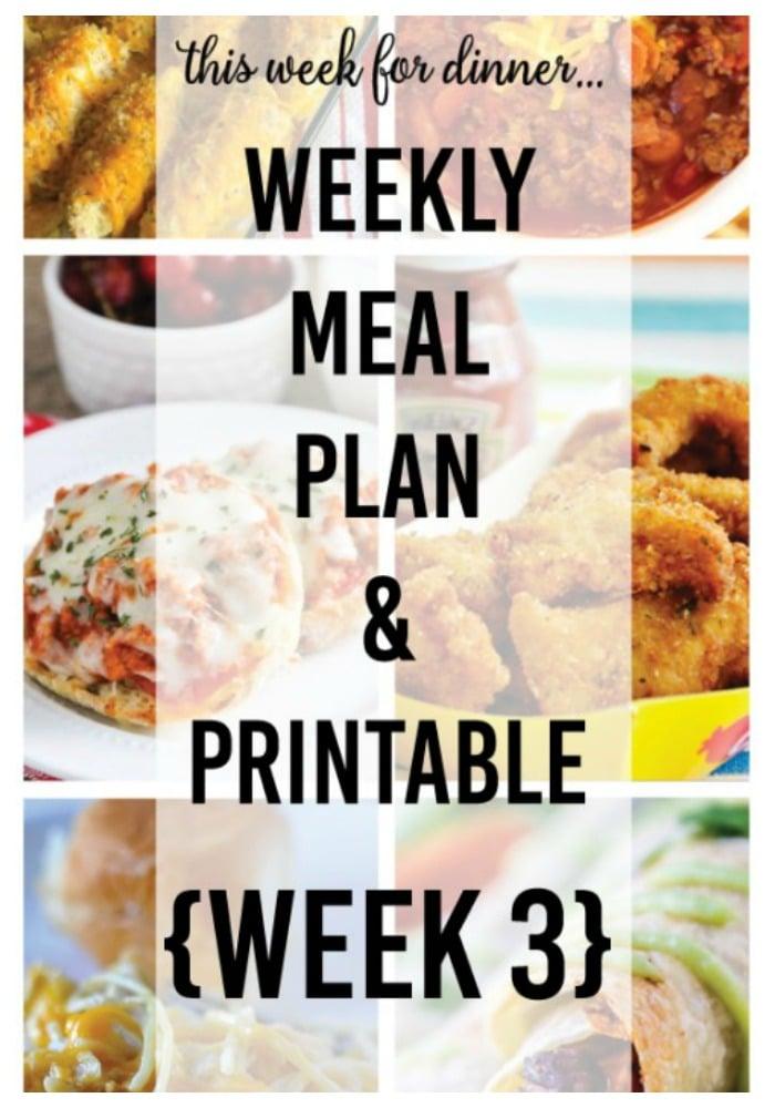 Weekly dinner menu - week 3