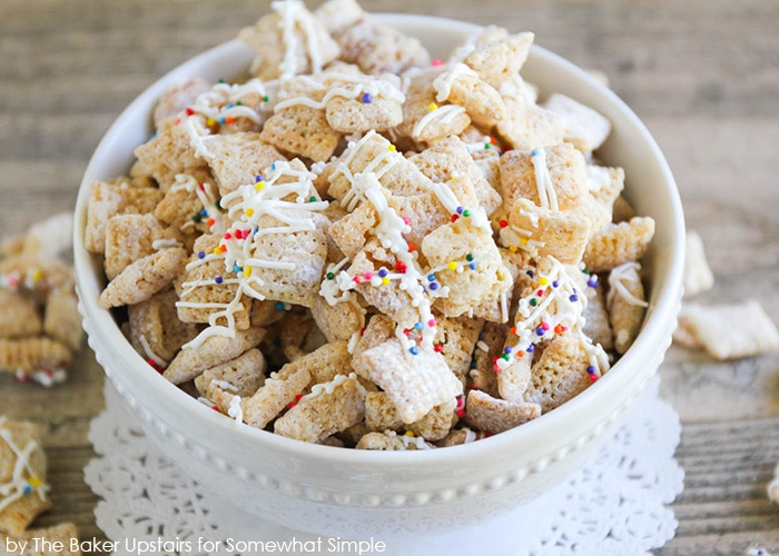 a bowl of Sugar Cookie Chex Mix