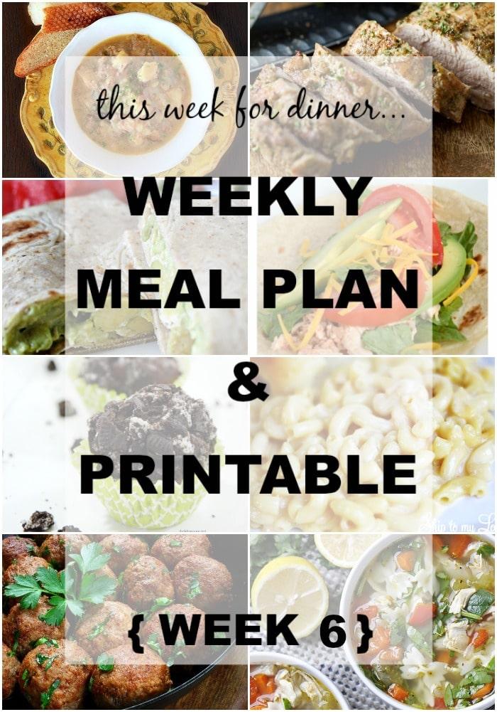 Dinner Menu Week 6 - Somewhat Simple