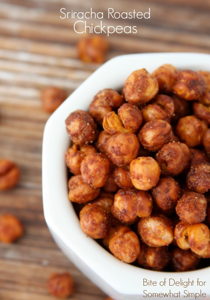 Sriracha roasted chickpeas are simple to make, but difficult to stop eating!  Made with fresh chickpeas and roasted to perfection, they make a healthy and delicious snack. #srirachachickpeas #roastedsrirachachickpeas #chickpeasrecipe #roastedchickpeasrecipe #sriracharoastedchickpeasrecipe via @somewhatsimple