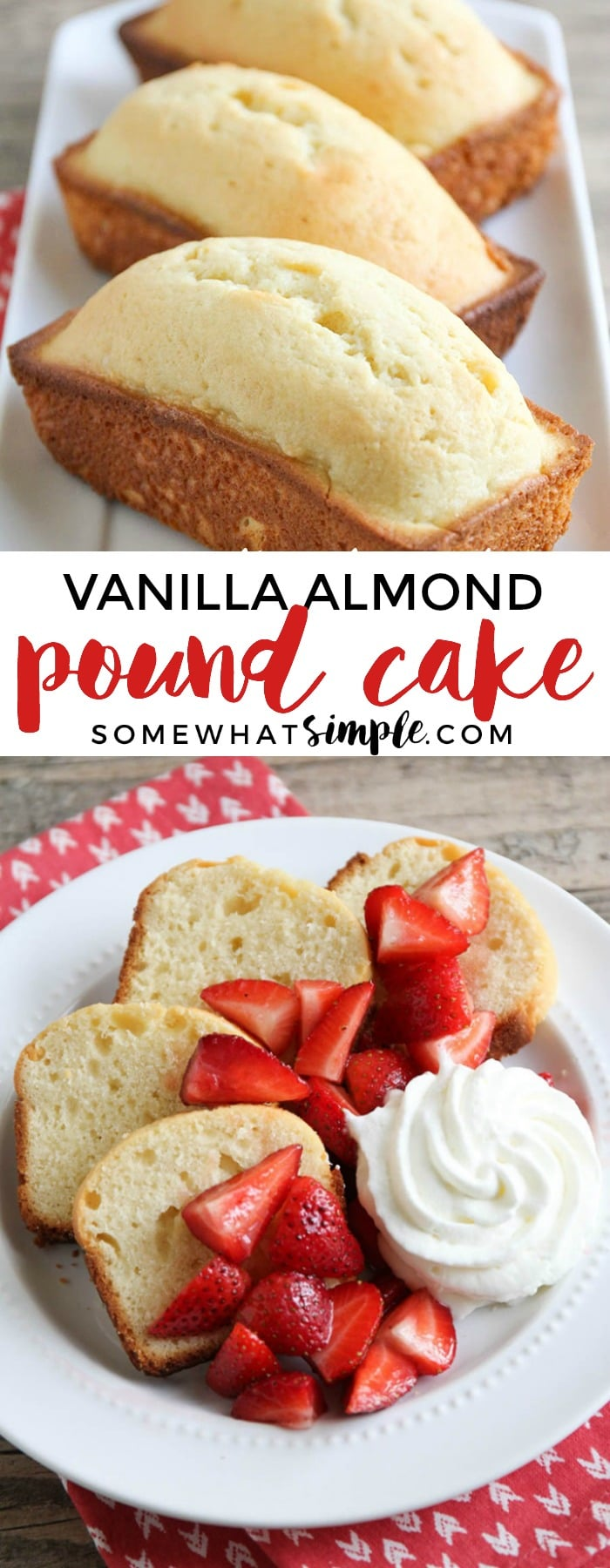 This recipe for vanilla almond pound cake is simple and easy to make using ingredients typically found in the house, and tastes fantastic!