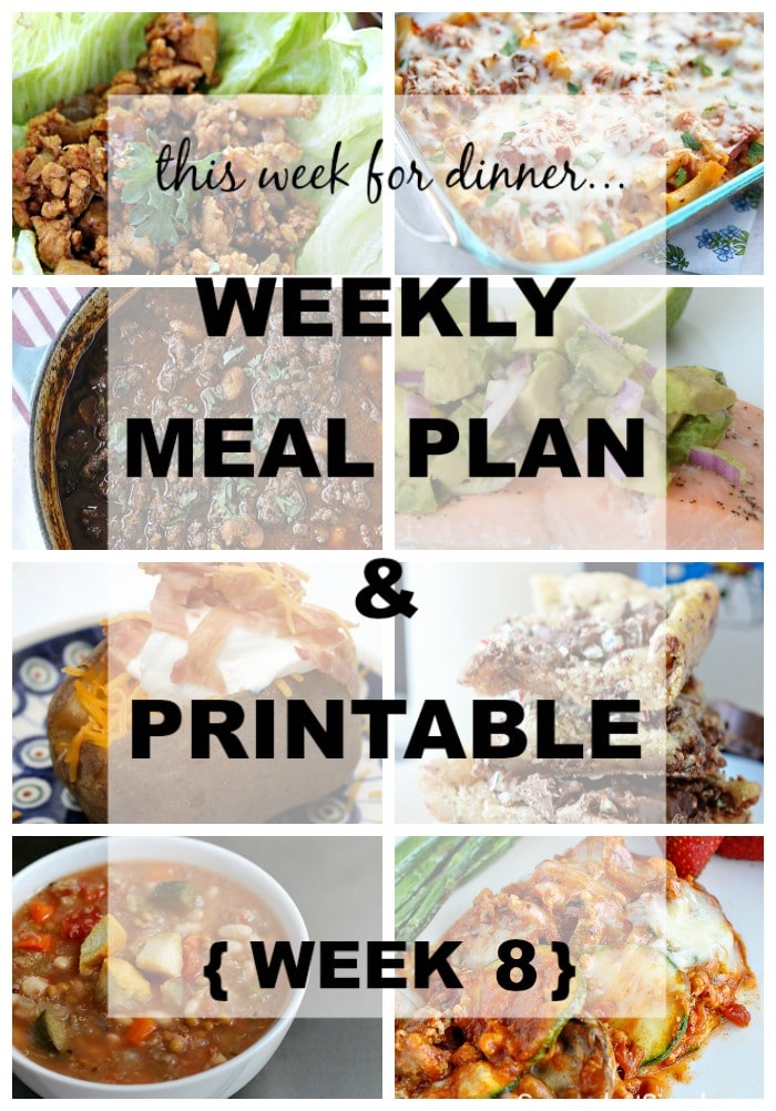 Weekly Dinner Menu Week 8