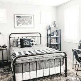 Boys Bedroom Decor in Black, White and Gray