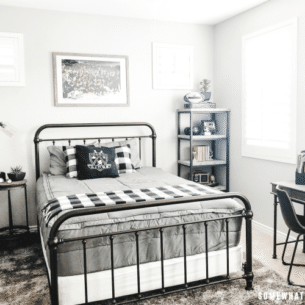 Boys Bedroom Decor in Black, White and Gray