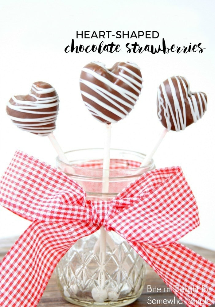 Chocolate Covered Strawberry Heart Pops are festive and delicious, and easy to make for the people you love! via @somewhatsimple