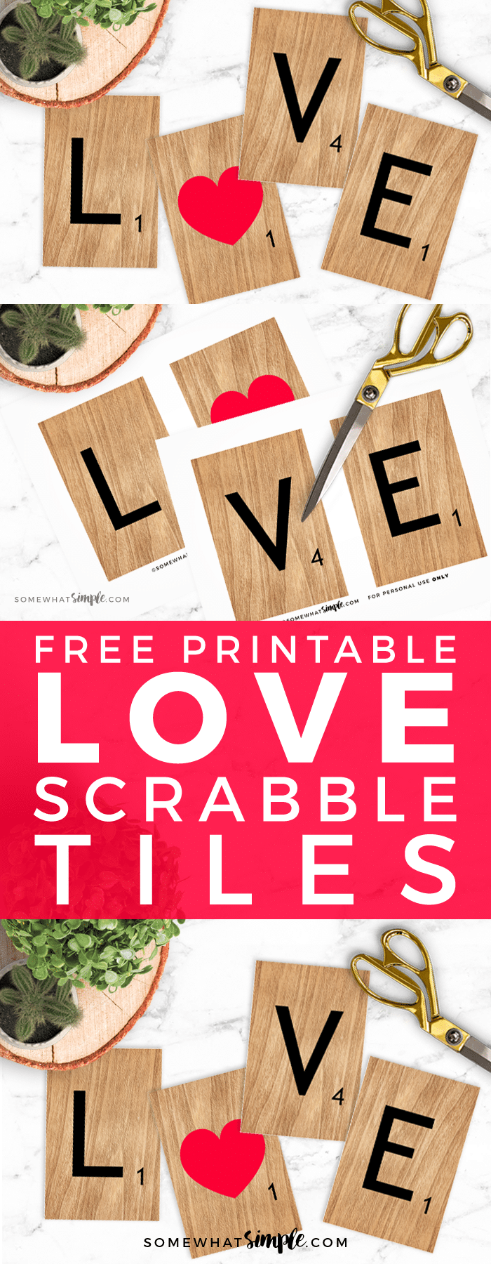 Free Printable LOVE Scrabble Tiles! Looking for some Free Valentine Wall Art Printables? These L-O-V-E printable Scrabble Tiles are the perfect touch to bring a little love into your home!
