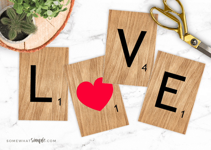 creative valentines day | VALENTINE ART PRINTABLES: L-O-V-E SCRABBLE TILES by SomewhatSimple.com