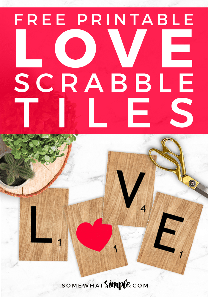 photo about Scrabble Tiles Printable known as Valentine Artwork Printables: L-O-V-E Scrabble Tiles - Fairly