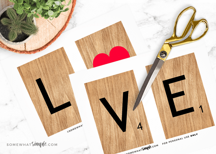photo about Printable Scrabble Tiles named Valentine Artwork Printables: L-O-V-E Scrabble Tiles - Considerably