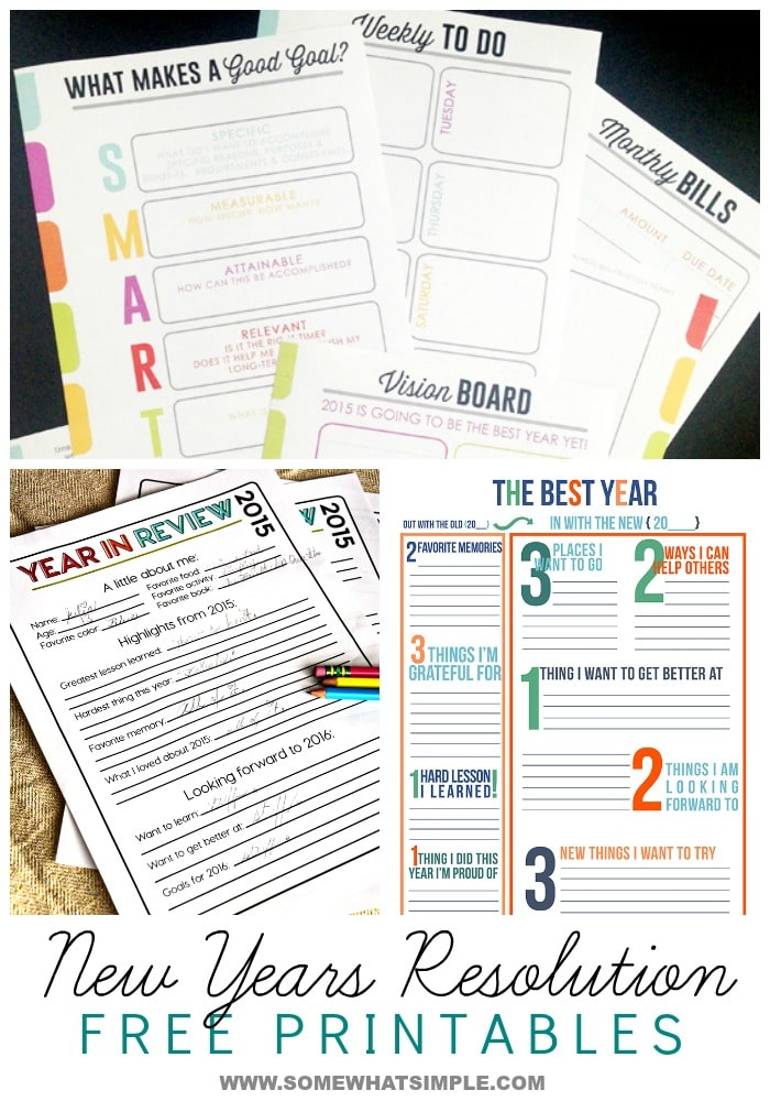 New Years Resolution Printables