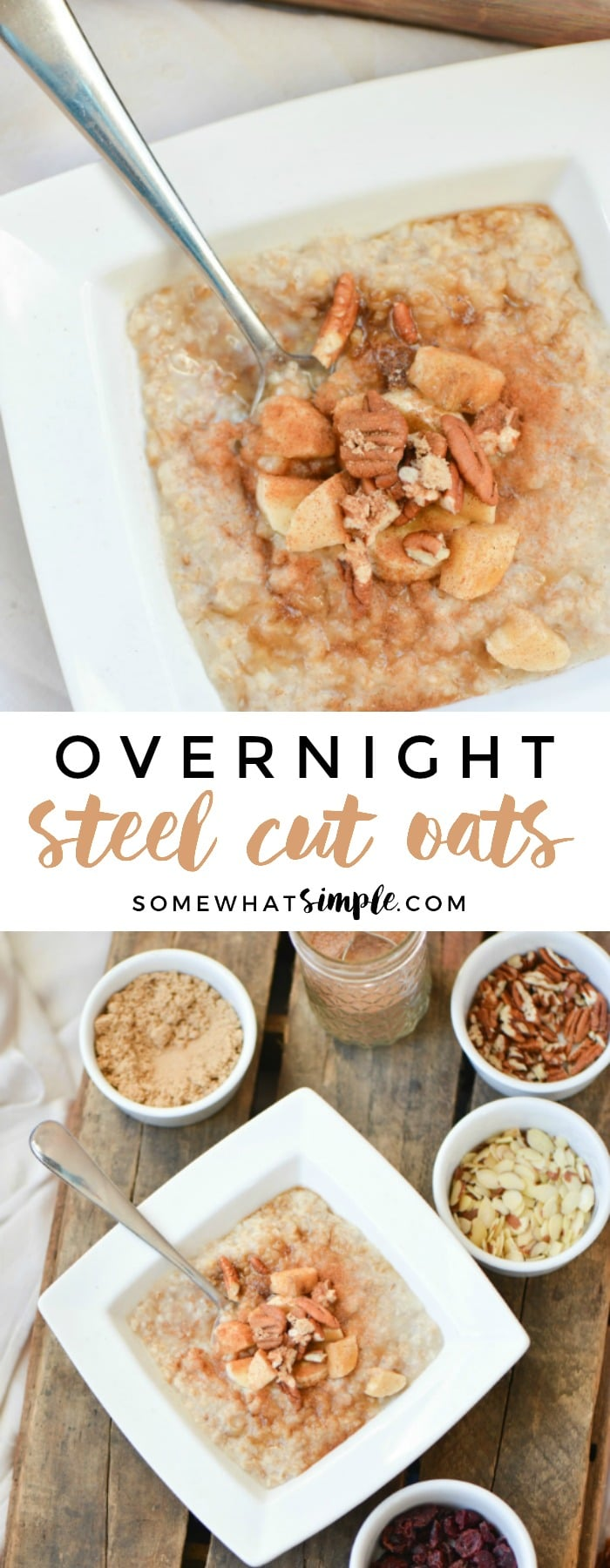 This overnight steel cut oats recipe is a mother's dream! Take a few minutes in the evening to prepare a pot of overnight oatmeal, and you'll wake up to a healthy breakfast that keeps your kids satisfied until lunch!