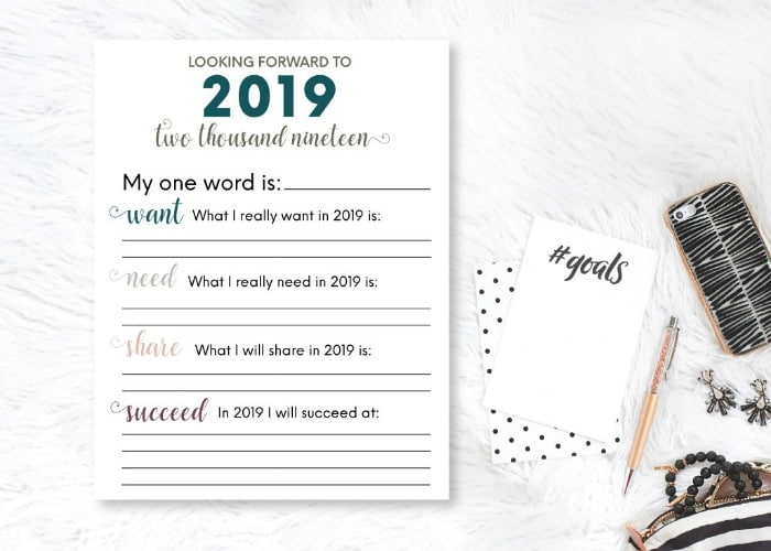 Year in Review Resolutions Printable