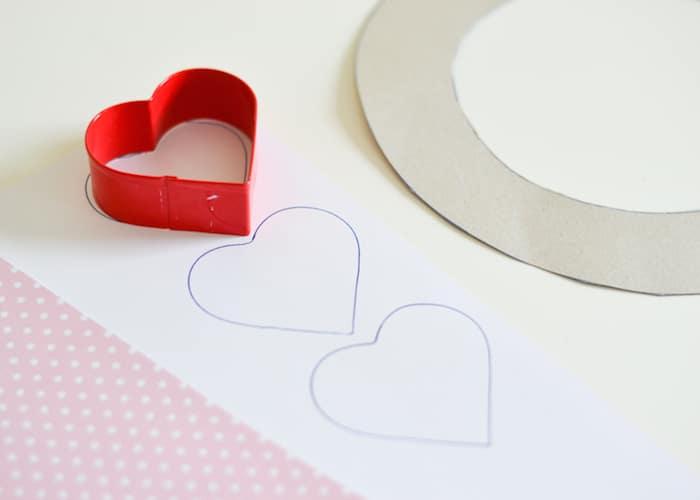 Tracing Hearts onto Scrapbook Paper