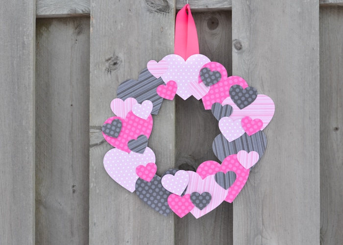 Valentine's Day wreath made of scrapbook paper hearts