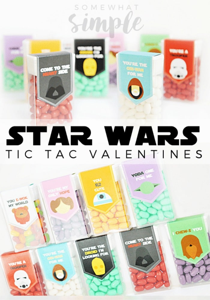 I felt a great disturbance in the force, as if a million voices suddenly cried out that they needed these Star Wars Valentine Tic Tac Labels in their lives, ASAP. #StarWars #TicTacLabels #Valentines via @somewhatsimple