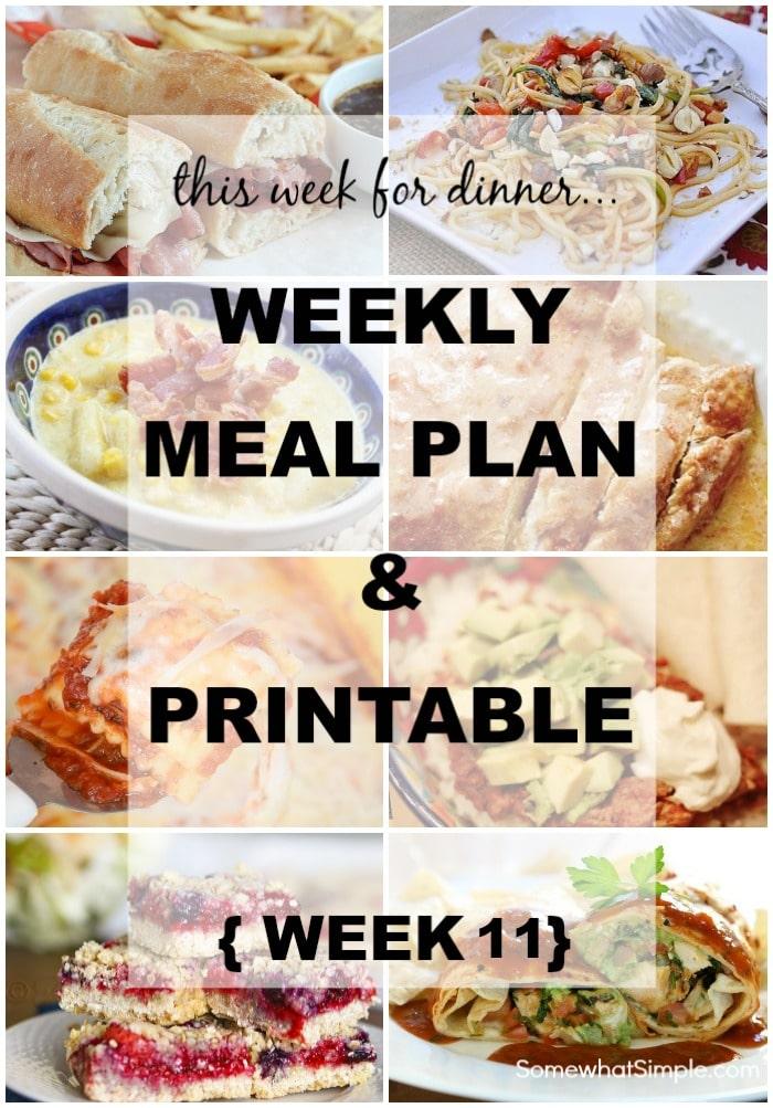 Weekly Menu Plan - Week 11