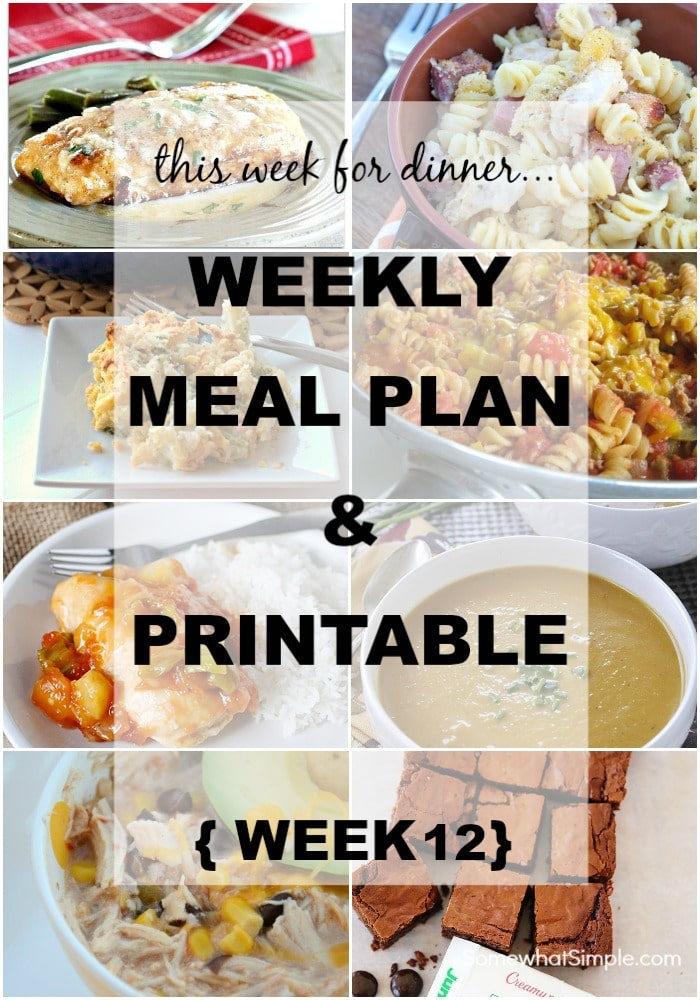 Weekly Menu Plan Week 12