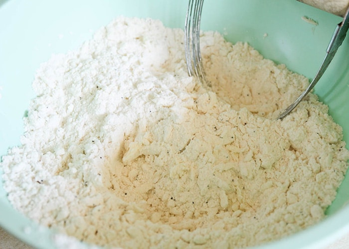 a flour mixture in a mixing bowl