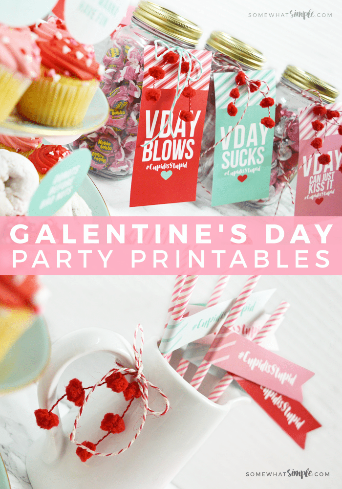 Galentine's Day Party collage of ideas - jars filled with candies and desserts on a tiered dessert tray