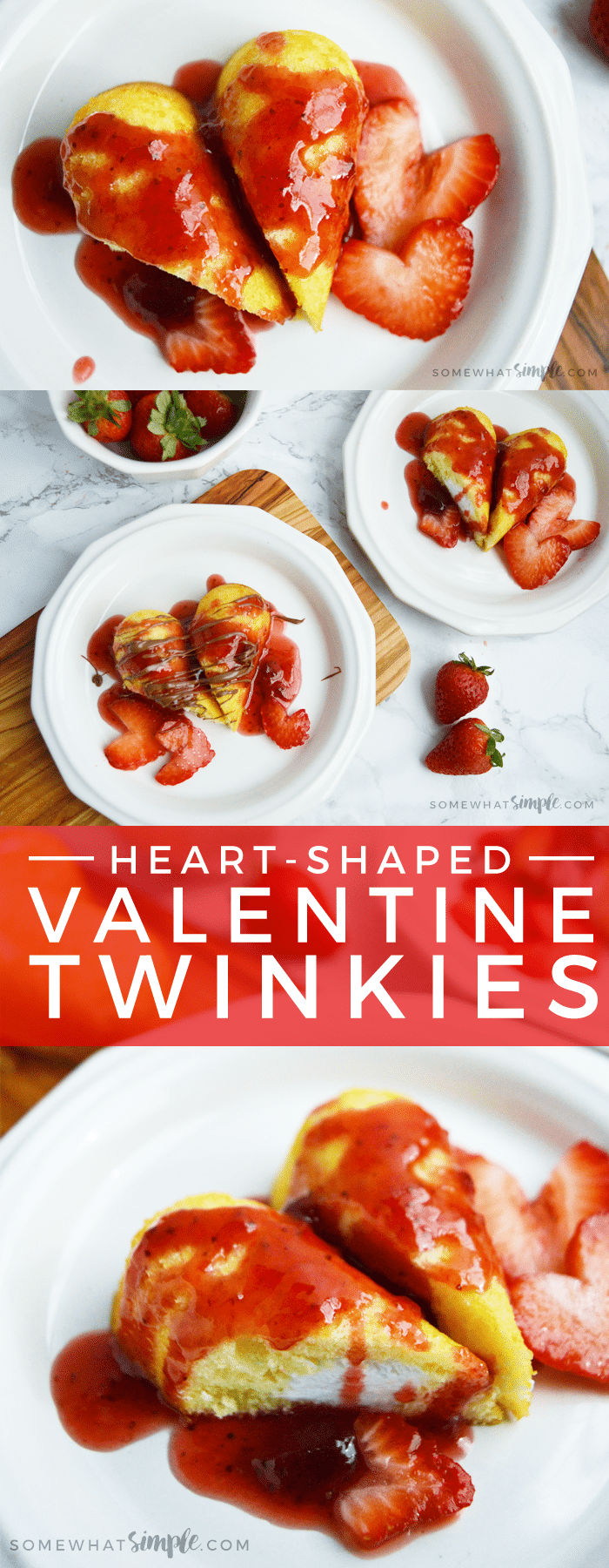 Kids love these heart-shaped Valentine Twinkies, and they are seriously one of the easiest Valentines desserts ever!