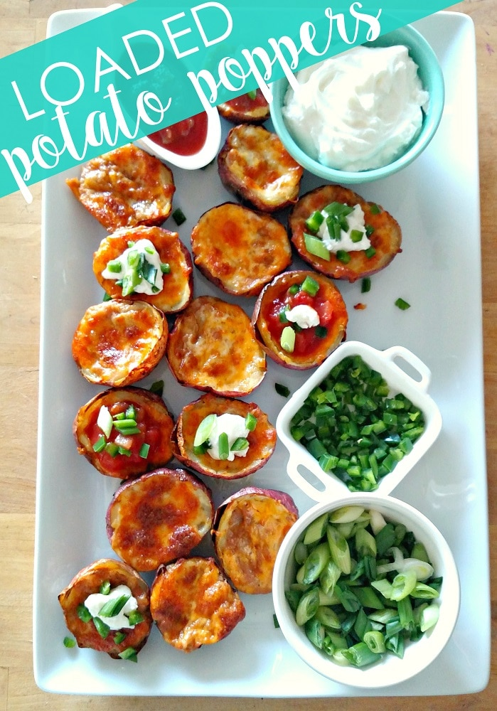 These easy potato skins are amazingly delicious and loaded with your favorite nacho toppings - beans, cheese, bacon and more!  Add these Loaded Potato Skins to your game-day menu! #superbowl #appetizer #potatoskins #recipes  via @somewhatsimple
