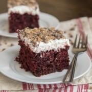 red velvet piece of cake on white plate