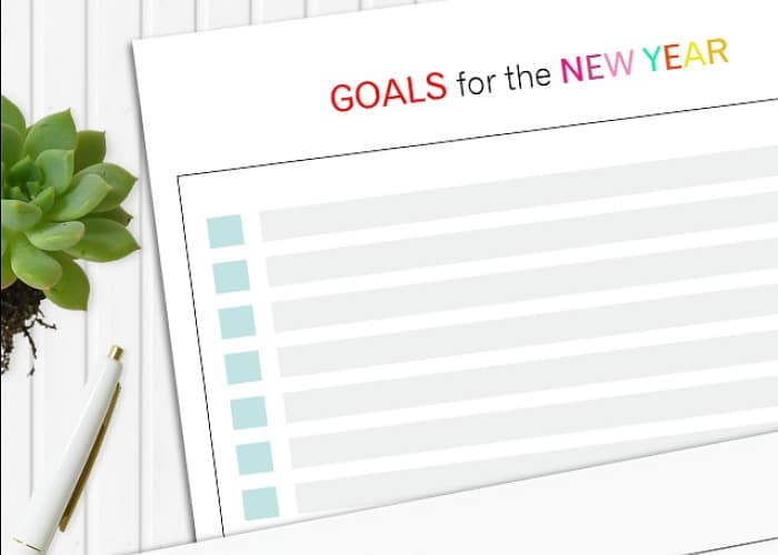 Clean and Simple Goal Sheet