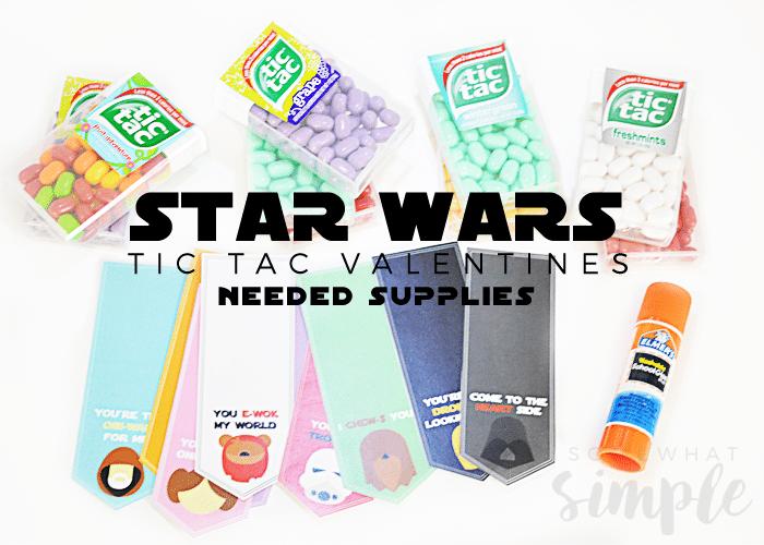 star wars tic tac valentines supplies