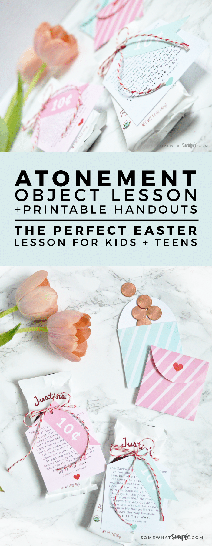 We love how simple + beautiful this Easter and Atonement Object Lesson is! It's the perfect way to help children and teens visually understand the concept of Christ's Atonement for us. #atonement #objectlesson #easterlesson #handout #YWhandout #YWLesson #LDS