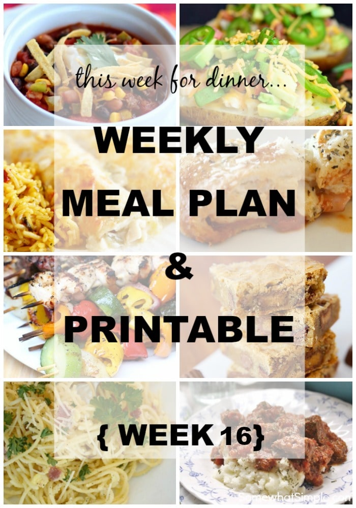 Weekly Menu Plan Week 16