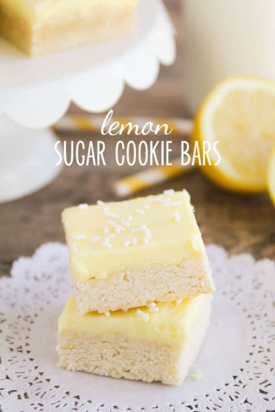 Lemon sugar cookie Bars stacked on each other