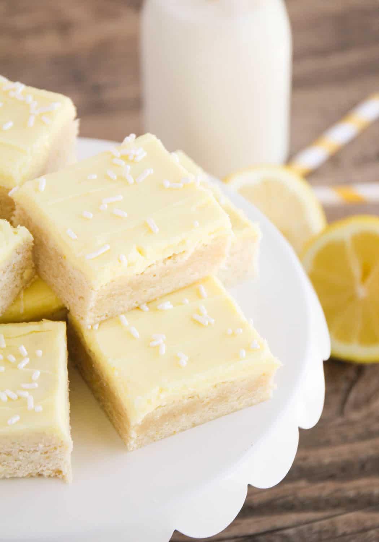 Lemon Sugar Cookie Bars on a tray