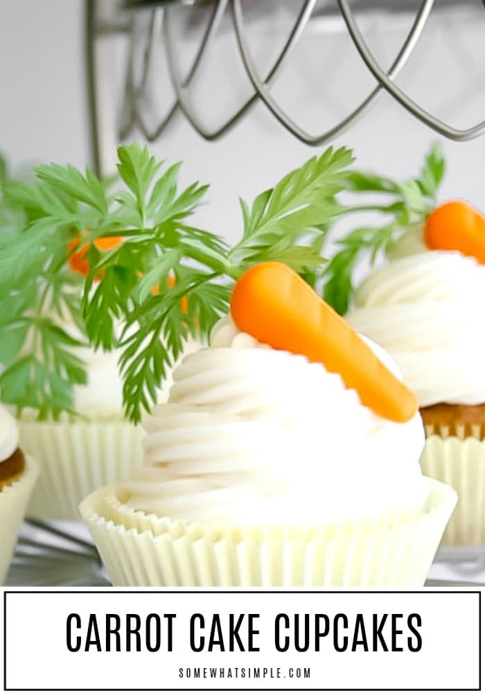 Our favorite carrot cake recipe, in smaller cupcake form! These Carrot Cake Cupcakes are topped with a delicious cream cheese frosting that tastes amazing! They are the perfect treat for Easter, spring bake sales, or a simple afternoon treat! #cupcakes #spring #easter #carrotcake #carrotcakecupcakes #springcupcakes #eastercupcakes  via @somewhatsimple