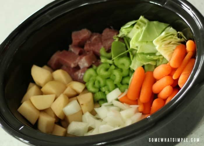 Corned Beef Stew in the Crock Pot - Fresh Ingredients