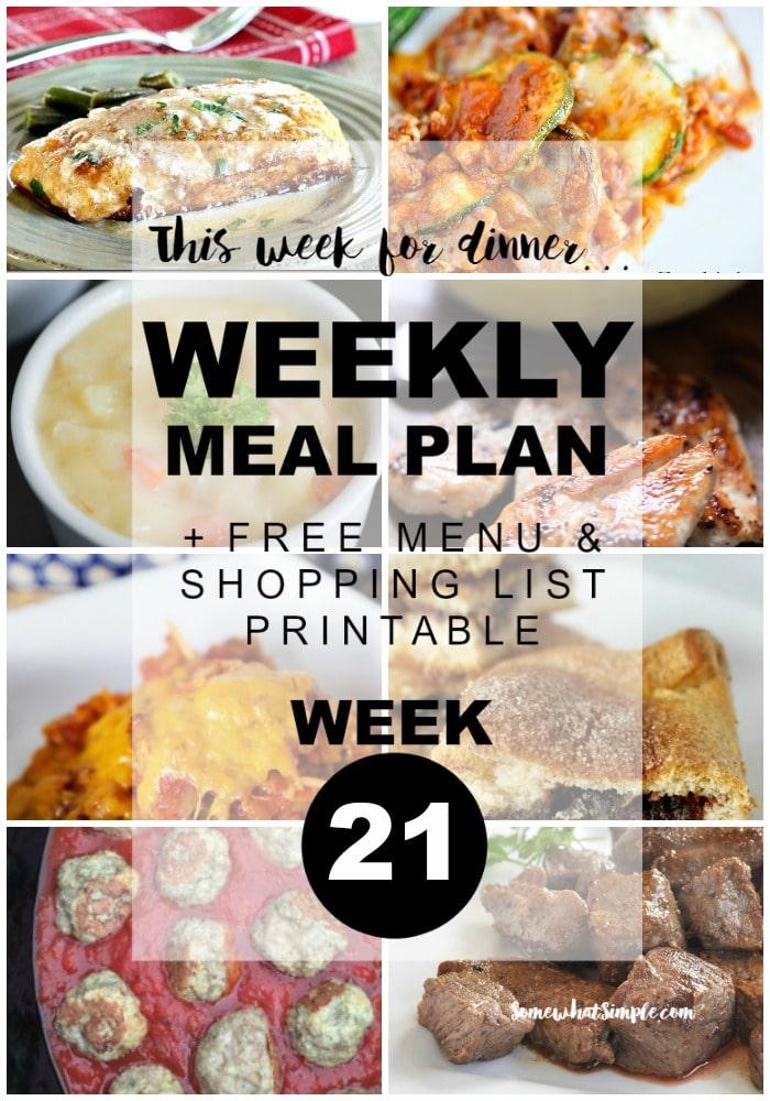Weekly Menu Plan Week 21