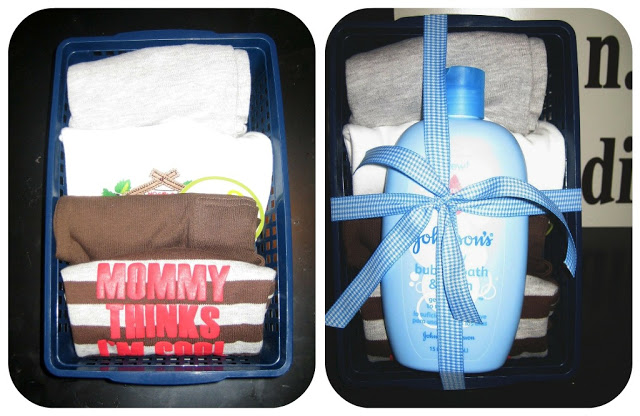 creative gift wrapping idea has essential baby boy items like clothes and shampoo wrapped with ribbon in a basket
