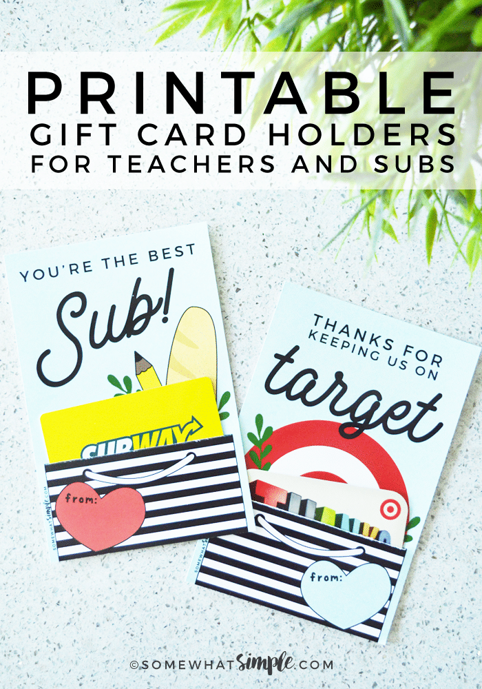 These adorable gift cards for teachers and substitutes are a great way to show those teachers you love a little appreciation! #gifts #gift @giftcards #teacher #appreciation #substitute #teacherappreciation via @somewhatsimple