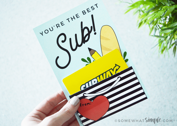 Gift Cards For Teachers And Substitutes Printable Holders