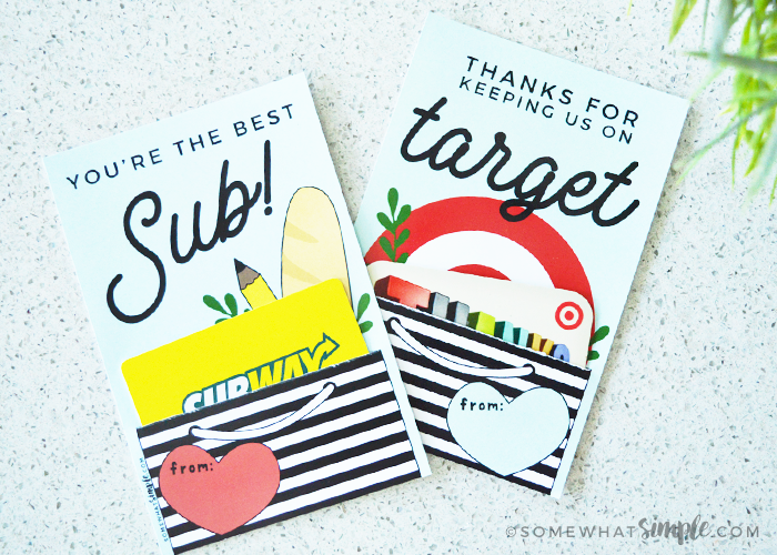Gift Cards For Teachers And Substitutes || Printable Holders