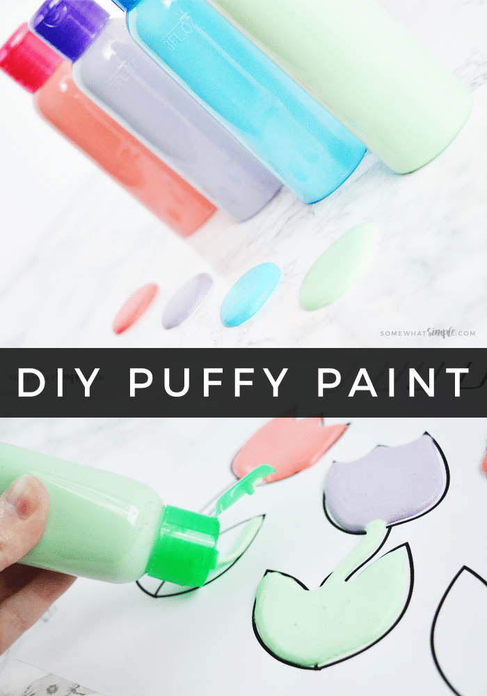 How To make Puffy Paint + Free Spring Coloring Pages! Using just a few supplies you have laying around the house, kids will love making their own puffy paint and using them with our  fun spring coloring pages! #puffypaintrecipe #howtomakepuffypaint #puffypaint #homemadepuffypaint #puffypaintcraft via @somewhatsimple