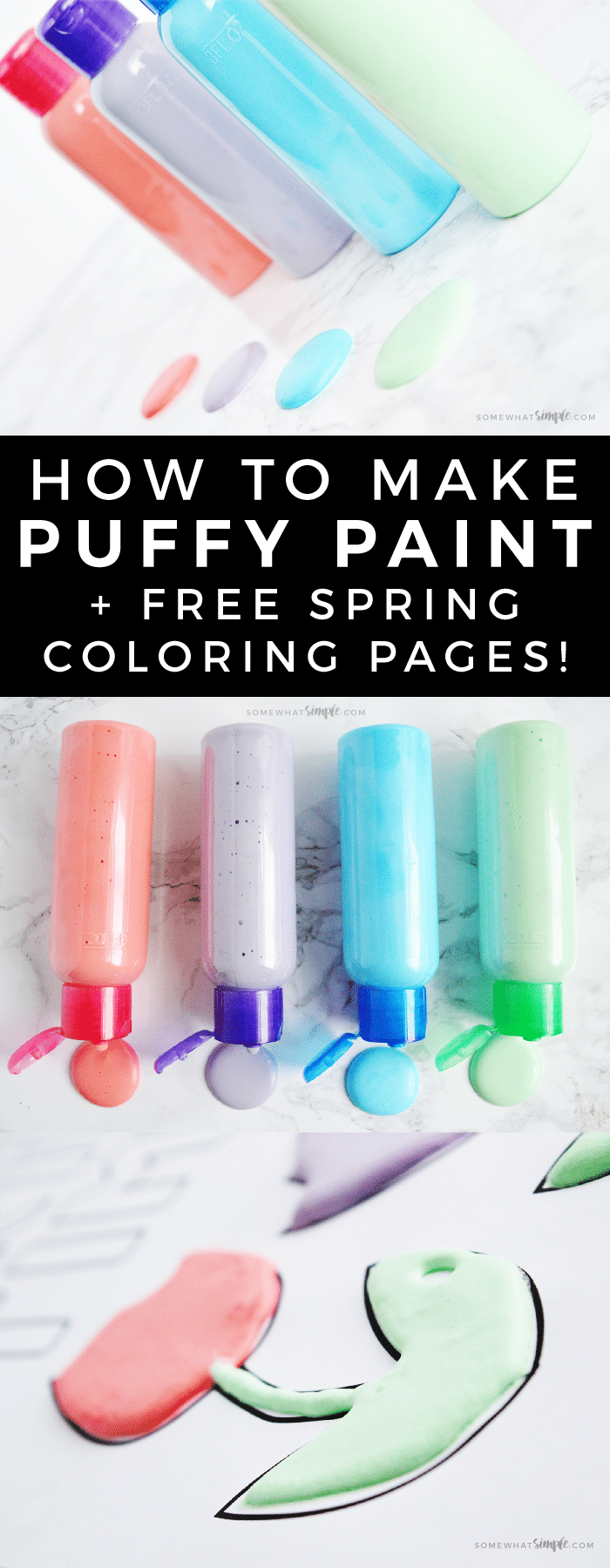 How To make Puffy Paint + Free Spring Coloring Pages! Using just a few supplies you have laying around the house, kids will love making their own puffy paint and using them with our  fun spring coloring pages!