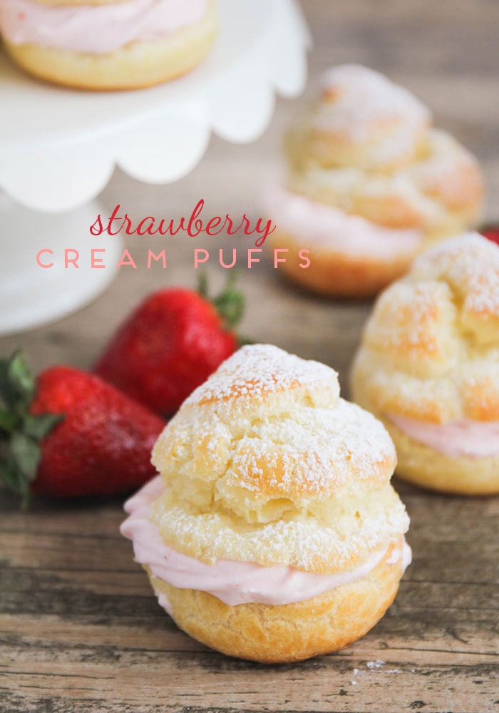 These strawberry cream puffs are simple to make and so delicious! Tender pastry shells are filled with sweet strawberry whip cream for an easy, elegant dessert.